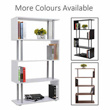 Wooden Wood S Shape Storage Display Unit Bookcase Bookshelf Room Divider 3 Color
