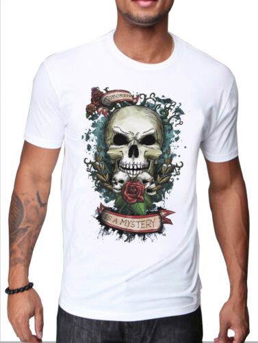 MENS SKULL AND ROSES TOMORROW IS A MYSTERY WHITE T-SHIRT