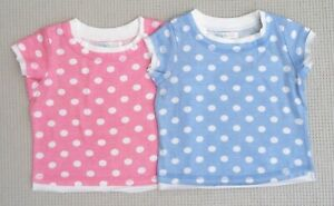 BNWOTS-Baby-Girls-2-Pack-Pastel-Pink-Blue-White-Spotted-T-Shirts-Tops-6-9-months