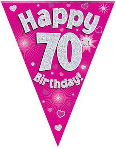 70th BIRTHDAY FLAG BANNER PINK HOLOGRAPHIC PARTY BUNTING 11 FLAGS 3.9m12.8ft