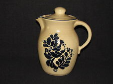 Pfaltzgraff Folk Art Stoneware Coffee Pot Server Tan and Blue Bird Design USA