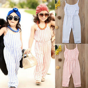 93eaaae3d9 Details about Kids Baby Girls Summer Strap Romper Jumpsuit Harem Pants  Trousers Outfit Clothes