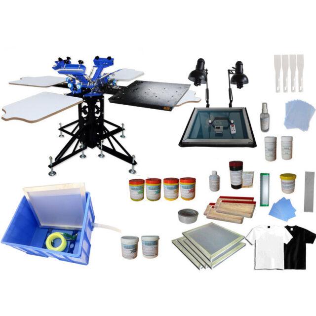 3 Color Silk Screen Printing Kit Machine Material Bundle Flash Dryer DIY  T-shirt