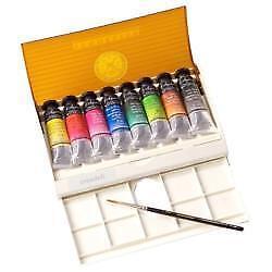 Sennelier Watercolour Travel Box 8 Tube + Brush Set.