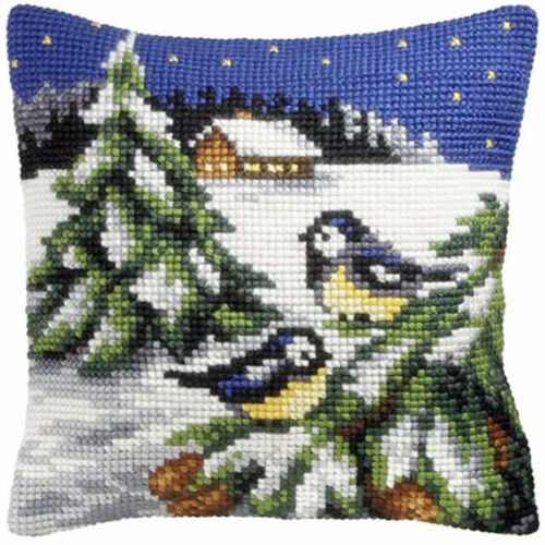 Blue Tits in Snow Orchidea Tapestry Kit
