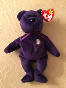 TY Beanie Babies 1997 PRINCESS DIANA Purple Beanie Baby All Tags PE ... 2192f1a8d83d