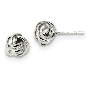 Platinum Sterling Silver Love Knot Cable Design Diamond Cut Post Stud Earrings