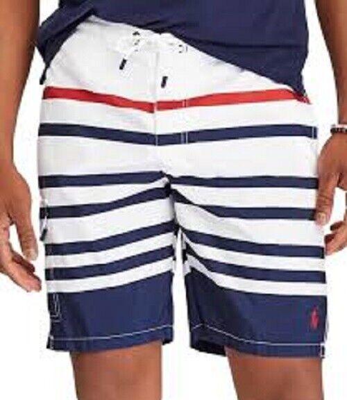 POLO RALPH LAUREN Swim Trunks Nautical Shorts Red White bluee Stripe Men's XL New