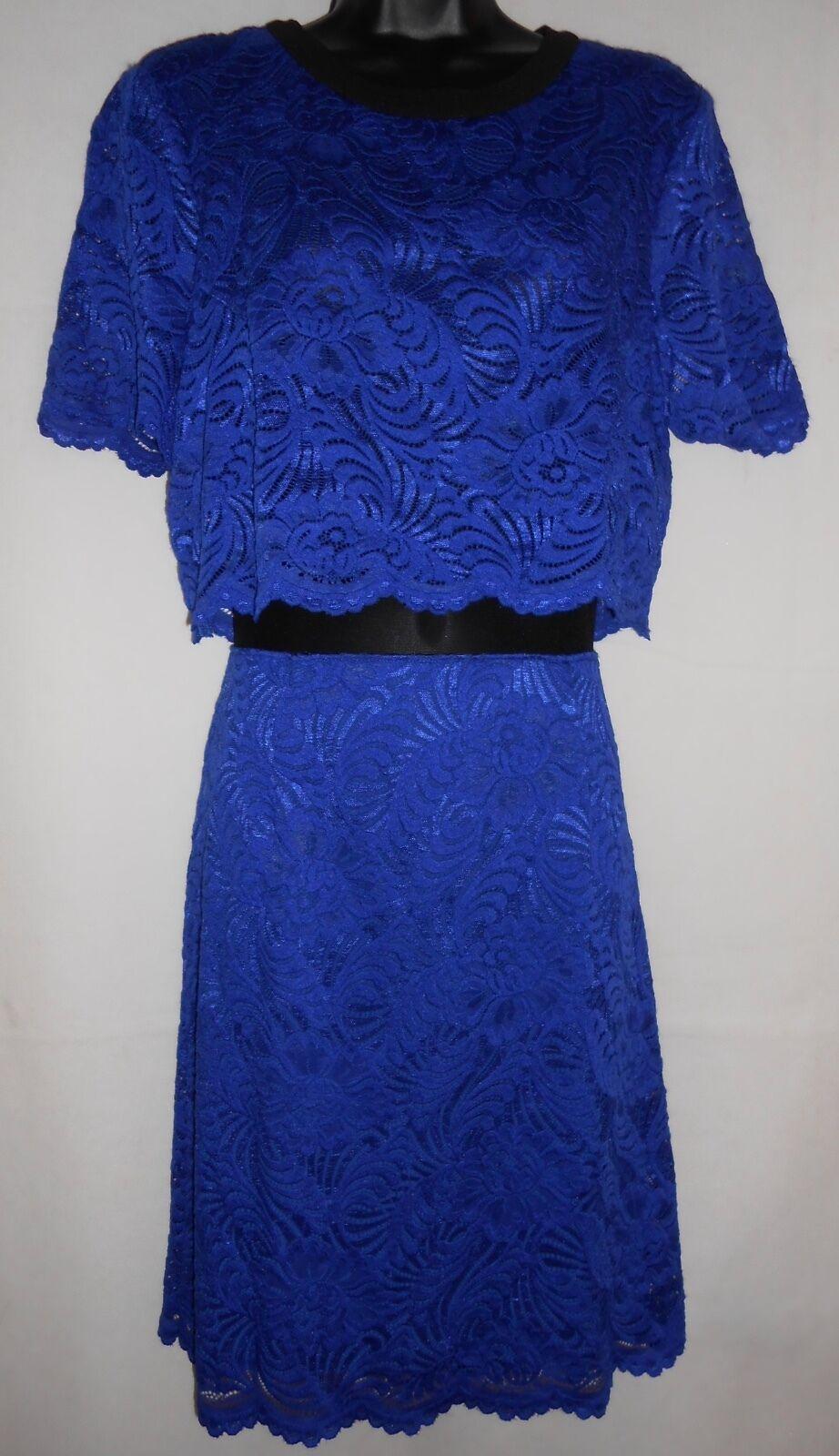 New ABS  by Allen Schwartz bluee lace dress L RRP