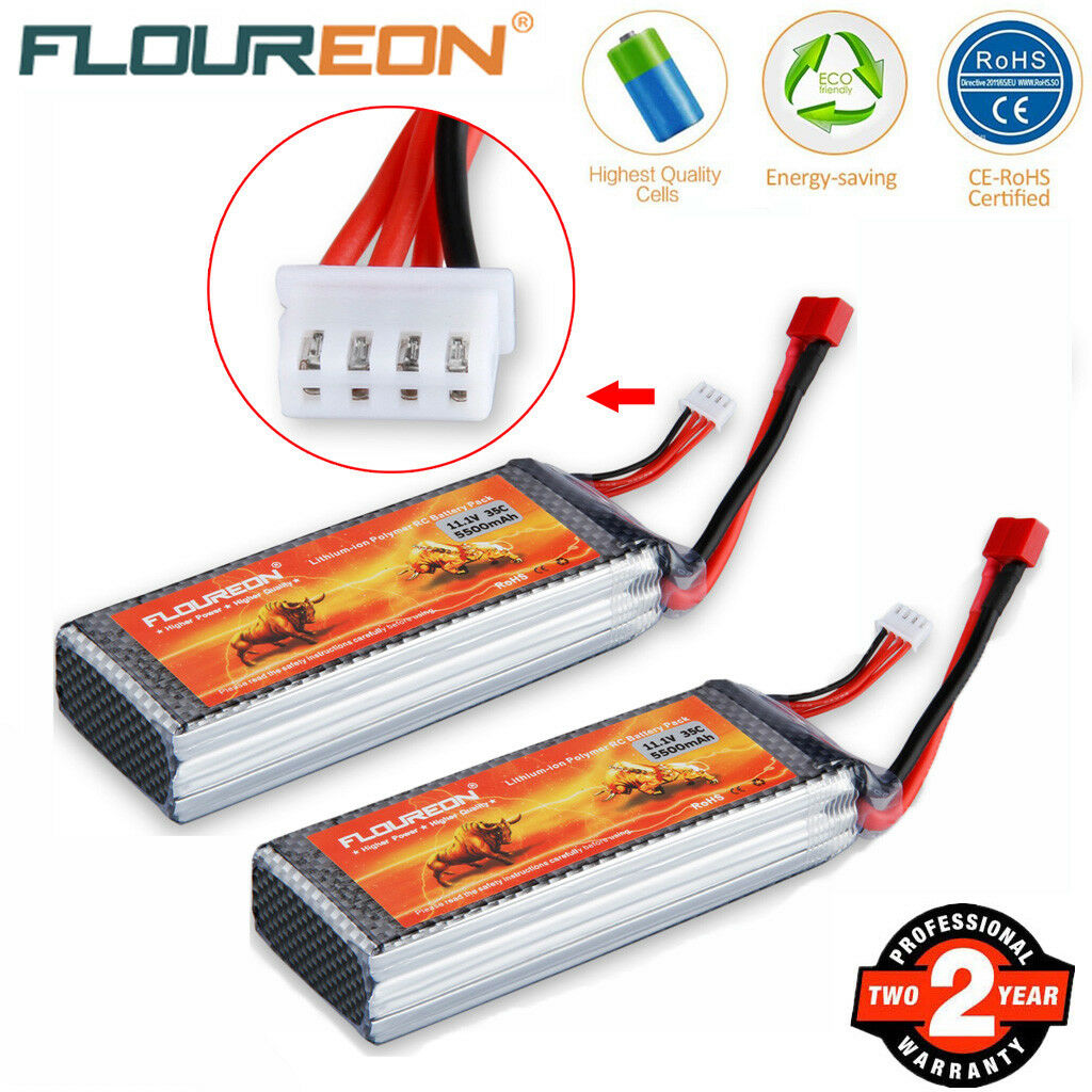 2PCS 11.1V 5500mAh 3S 35C LiPo Battery Deans for RC Car Boat Airplane Helicopter