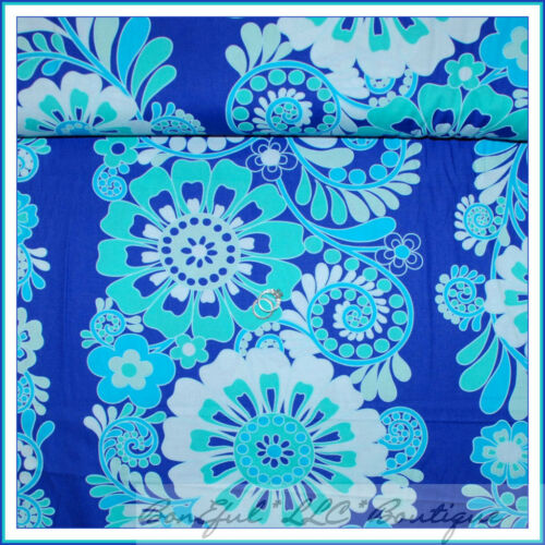BonEful Fabric FQ Cotton Quilt VTG Blue Aqua White Flower Border Stripe Lg Print