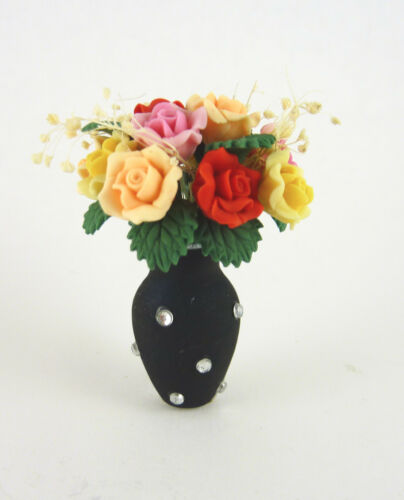 Closeout Dollhouse Miniature Multi Roses Bouquet in Jeweled Black Vase E1014