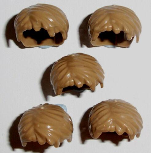 Lego Minifig Hair x 5 Short Boy Dark Tan Wigs