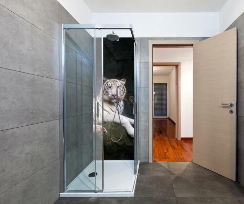 Duschrückwand Blanc Tigre est assis dans la grotte mur de douche design pas de profils en creux