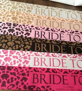 ROSE GOLD NEW Leopard Print Bride To Be Hen Party Sash AS SEEN ON EMMERDALE!