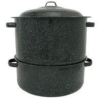 19 Quart Enamel On Steel 2 Tier Seafood Steamer 16-1/5 By 8-3/4 By 14-1/4 In