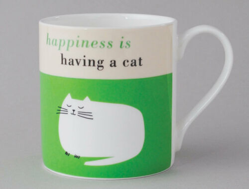 Happiness is Having a Cat Catnap Large Bone China Mug decorated in Stoke