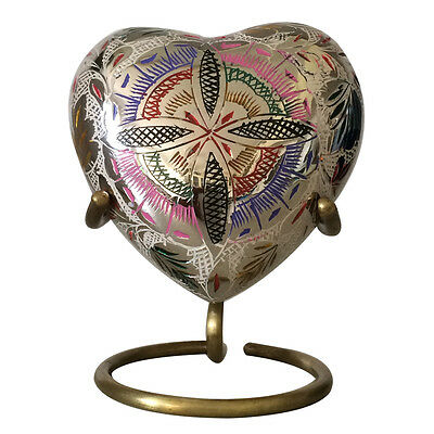 Lattice Floral Heart Memorial Urn for Ashes With Stand, Keepsake Cremation Urns