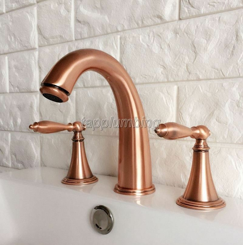 Rouge Cuivre Widespread Bathroom Basin robinet d'évier Double Poignée De Mélangeur Robinets