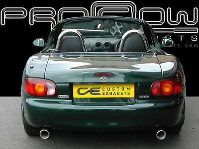 MAZDA MX5 STAINLESS STEEL CUSTOM BUILT BESPOKE EXHAUST BACK BOX DUAL TAIL PIPES