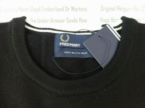 FRED PERRY Mens Jumper 7211 Crew Neck Black Size XXL Wool Sweater Top New R£90