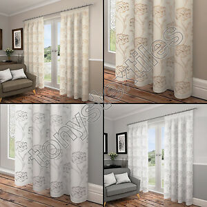 EMBROIDERED FLORAL LINED VOILE READY MADE CURTAINS WHITE CREAM - Ready made curtains white