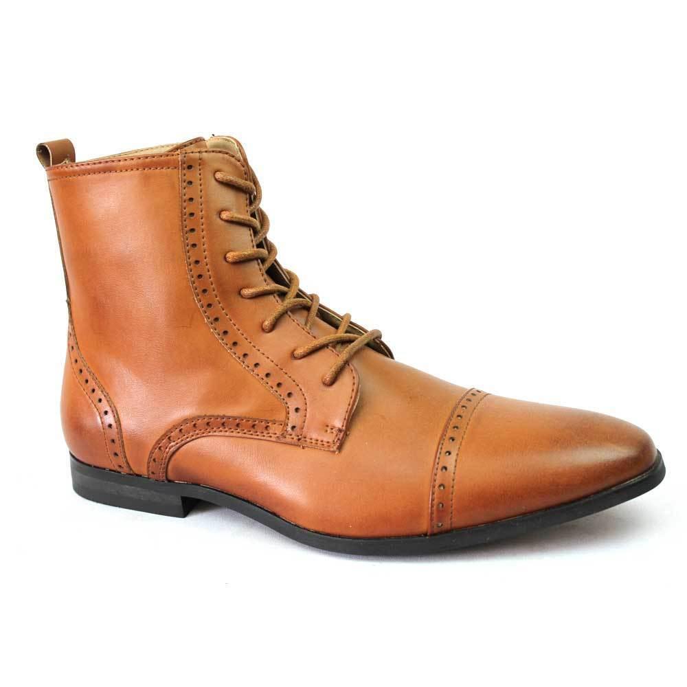 New Men's Cognac Cap Toe Boots Detailed Perforation Dress Shoes Oxfords By Azar