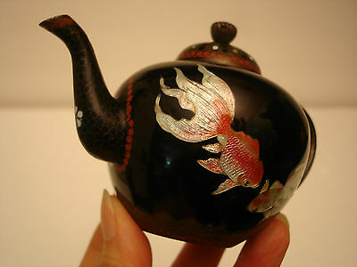 "3"" H  JAPANESE MEIJI PERIOD WIRE CLOISONNE MINIATURE TEA POT"