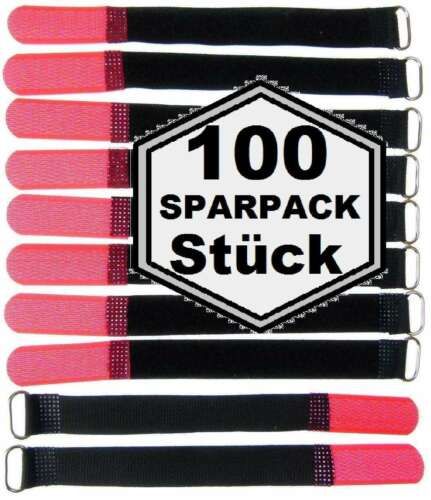 100 Klettbänder Kabelklett 160 x 16mm rot Kabel Klett Band Kabelbinder Klettband