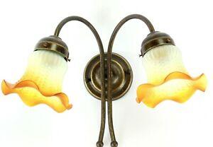 Applique lampada in ottone anticato liberty a luci da parete con