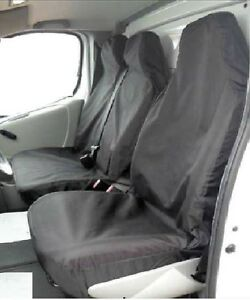 Renault-Trafic-LWB-SWB-Seat-Covers-Black-Nylon-Van-heavy-duty-Single-Double