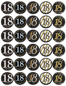 30 x 18th Birthday Black And Gold Cupcake Toppers Edible ...