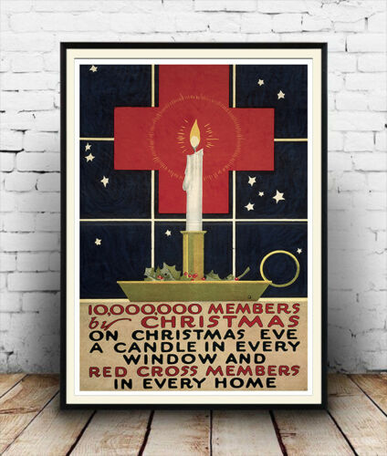 Members by Christmas Vintage War information Poster reproduction