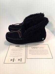UGG-Alena-Black-Moccasin-Slipper-Women-039-s-US-sizes-5-11-NEW