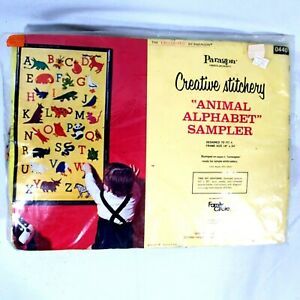 Paragon-Needlecraft-Animal-Alphabet-Sampler-Stamped-Embroidery-Kit-0440-Vintage