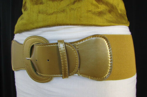 Women Gold Silver Elastic Waistband Fashion Belt Wide Hip High Waist Size S M