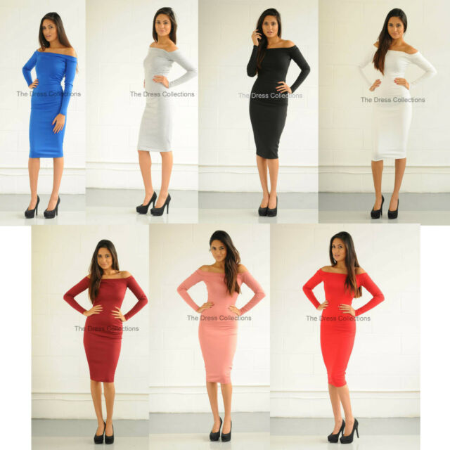 New womens ladies sexy off shoulder long sleeve midi party celeb bodycon dress