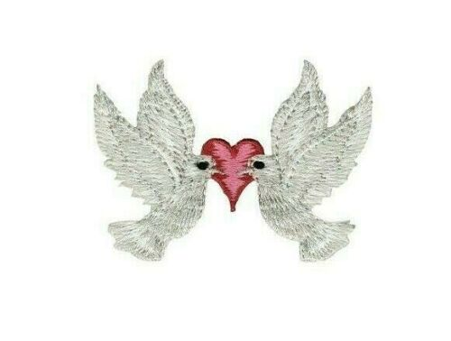 Small DOVE White Bird Iron On Applique Patch Heart Love Animal