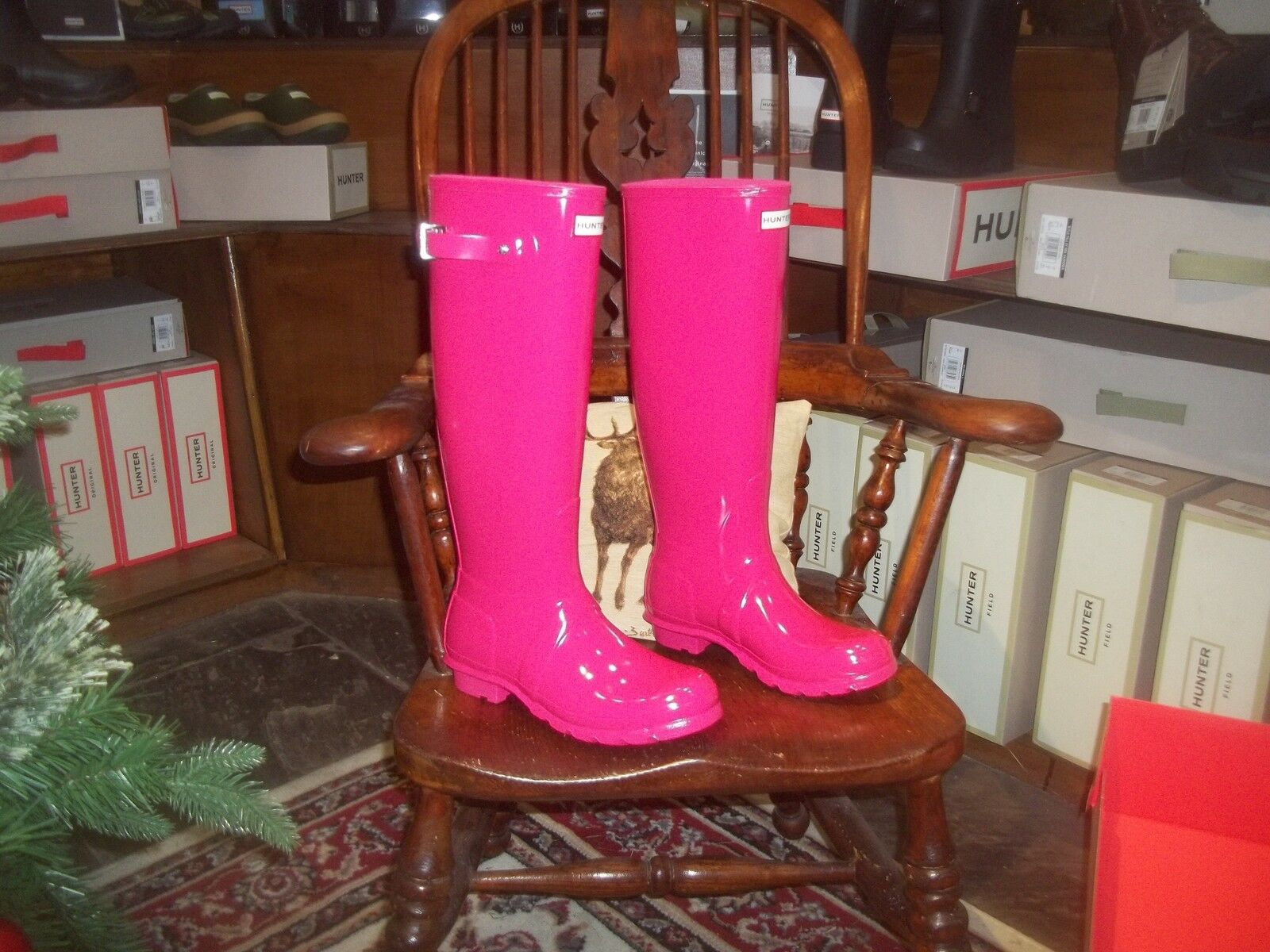 GLOSS HUNTER WELLIES WELLINGTONS  IN HALIFAX SIZE 4 BRIGHT PINK  TALL Women's