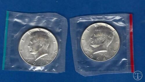 1964 P AND D 90/% Silver Kennedy Half Dollars BU in Mint Cello-Two Coin Lot