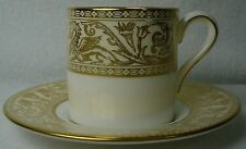 WEDGWOOD china FLORENTINE GOLD W4219 pattern DEMITASSE CUP & SAUCER Set