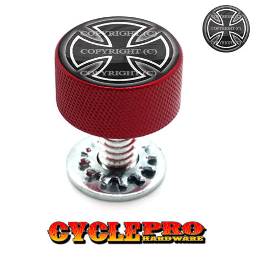 018 Red Knurled Billet Seat Bolt 96-UP Harley Touring IRON CROSS