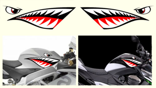 SA114A 2 X DENT DE REQUIN 46cmX15cm TEETH SHARK MOTO GP AUTOCOLLANT STICKER