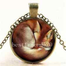 Vintage Sleeping Fox Photo Cabochon Glass Bronze Chain Pendant Necklace
