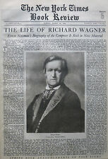 THE LIFE OF RICHARD WAGNER - NEWMAN - ALDRICH 1933 March 12 NY Times Book Review