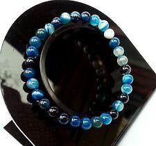Bracelet en Agate Bleu Atlantic en Pierre Naturel Minéral Lithothérapie Bijoux