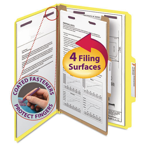 Yellow Smead Pressboard Classification Folders Four-Section Legal 10//box