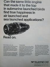 2/1977 PUB TELEDYNE CAE TURBINE ENGINES HARPOON MISSILE J402 TURBOJET ENGINE AD