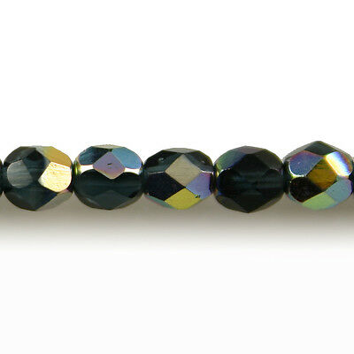 Sapphire Blue Vitral 50 4mm Round Faceted Fire Polish Czech Glass Beads