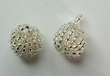 5 pcs x 13MM Glass Beaded Ball Button in Colour  Silver  #1 (Small)